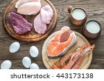 protein diet  raw products on... | Shutterstock . vector #443173138