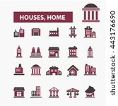 houses  home icons | Shutterstock .eps vector #443176690