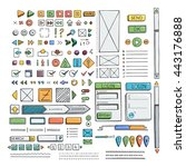 hand drawn vector icons set... | Shutterstock .eps vector #443176888