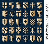 set of gold heraldic shields... | Shutterstock . vector #443185720