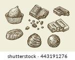 chocolates. hand drawn sketch...   Shutterstock .eps vector #443191276