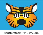 cat vector party mask face | Shutterstock .eps vector #443192206