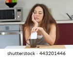 sleepy tired girl with a bad... | Shutterstock . vector #443201446
