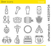 beer linear icons set. bar and... | Shutterstock .eps vector #443205934