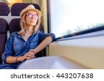 enjoying travel. young pretty... | Shutterstock . vector #443207638