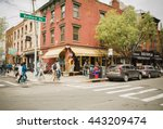 Small photo of New York City, United States - April 23, 2016: Crowds of people walking along Bedford Avenue in Williamsburg, Brooklyn on a beautiful Weekend afternoon.