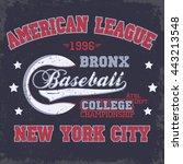 baseball fashion typography... | Shutterstock .eps vector #443213548