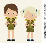 boy and girl scouts. scouting... | Shutterstock .eps vector #443216620