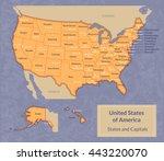 vector illustration of usa map... | Shutterstock .eps vector #443220070