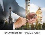 double exposure of businessman... | Shutterstock . vector #443237284