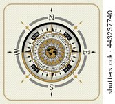 nautical vintage compass 04 on... | Shutterstock .eps vector #443237740