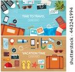 summer and travel flat banner... | Shutterstock .eps vector #443241994