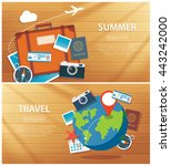 summer and travel flat banner... | Shutterstock .eps vector #443242000