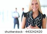 business woman sending text... | Shutterstock . vector #443242420