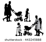 family with baby and pram on a... | Shutterstock .eps vector #443245888
