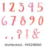 pink orange splatter number set | Shutterstock . vector #443248060