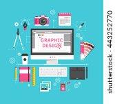 flat design style modern vector ... | Shutterstock .eps vector #443252770
