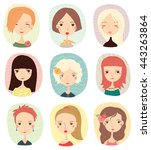 set with cute fashion girls | Shutterstock .eps vector #443263864