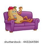 couch potato relaxing | Shutterstock .eps vector #443264584