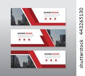 Red abstract corporate business banner template, horizontal advertising business banner layout template flat design set , clean geometric abstract cover header background template for website design,  | Shutterstock vector #443265130