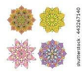 colorful round mandala ornament | Shutterstock .eps vector #443267140