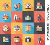 building and store icons set | Shutterstock .eps vector #443269870
