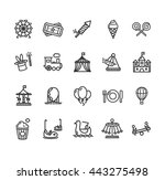 amusement park outline icon set ... | Shutterstock .eps vector #443275498