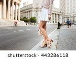 beautiful long female legs.... | Shutterstock . vector #443286118