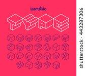 isometric 3d outline font ... | Shutterstock .eps vector #443287306