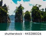 beautiful view mountain lake... | Shutterstock . vector #443288326