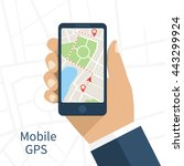 mobile gps navigation on mobile ... | Shutterstock .eps vector #443299924