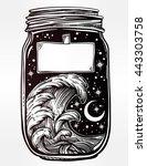 hand drawn romantic wish jar...   Shutterstock .eps vector #443303758