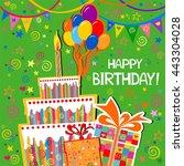 birthday card. celebration... | Shutterstock . vector #443304028