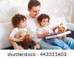 dad with two daughters twins... | Shutterstock . vector #443311603