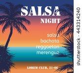 salsa night flyer with hand... | Shutterstock .eps vector #443314240