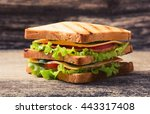 freshly made clubsandwiches... | Shutterstock . vector #443317408