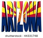 arizona text with flag on white