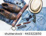 men's casual outfits with... | Shutterstock . vector #443322850