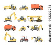 set of heavy machinery for road ... | Shutterstock .eps vector #443333278