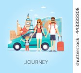 family travel by car russia ... | Shutterstock .eps vector #443333308