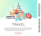 page web design template world... | Shutterstock .eps vector #443333314