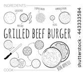 recipe of grilled beef burger... | Shutterstock .eps vector #443333584