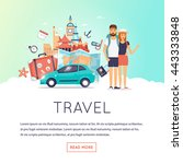two young tourists on vacation. ... | Shutterstock .eps vector #443333848