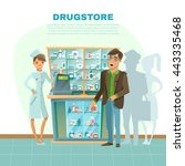 drugstore with pharmacist in... | Shutterstock .eps vector #443335468