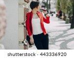 spectacular young brunette...   Shutterstock . vector #443336920