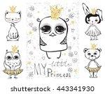 cute bird  rabbit  bear cat and ... | Shutterstock .eps vector #443341930