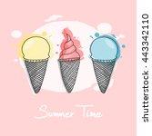 three ice creams  hand drawn... | Shutterstock .eps vector #443342110