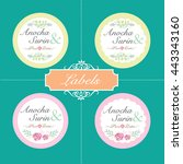 vector set. vintage labels with ... | Shutterstock .eps vector #443343160
