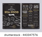 seafood restaurant menu design... | Shutterstock .eps vector #443347576
