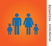 family blue flat icon with...
